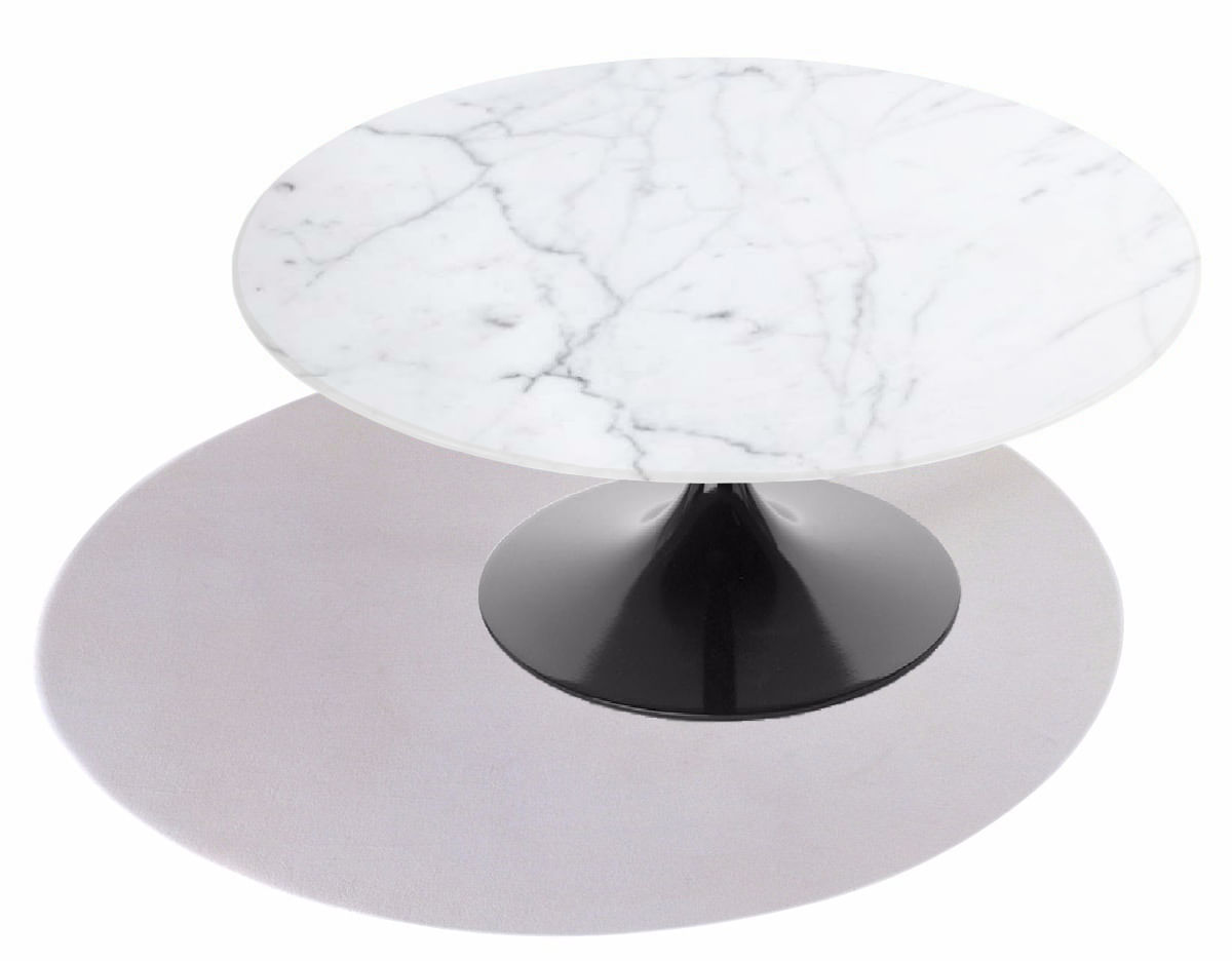 Mesa De Jantar Tulipa Saarinen Redonda 90 cm Mármore Carrara Base Preta