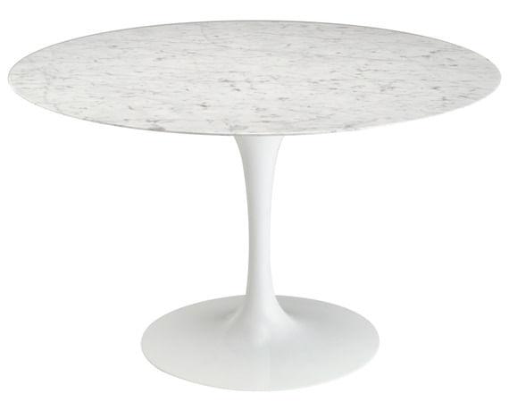 Mesa De Jantar Saarinen Redonda 124 cm Mármore Carrara
