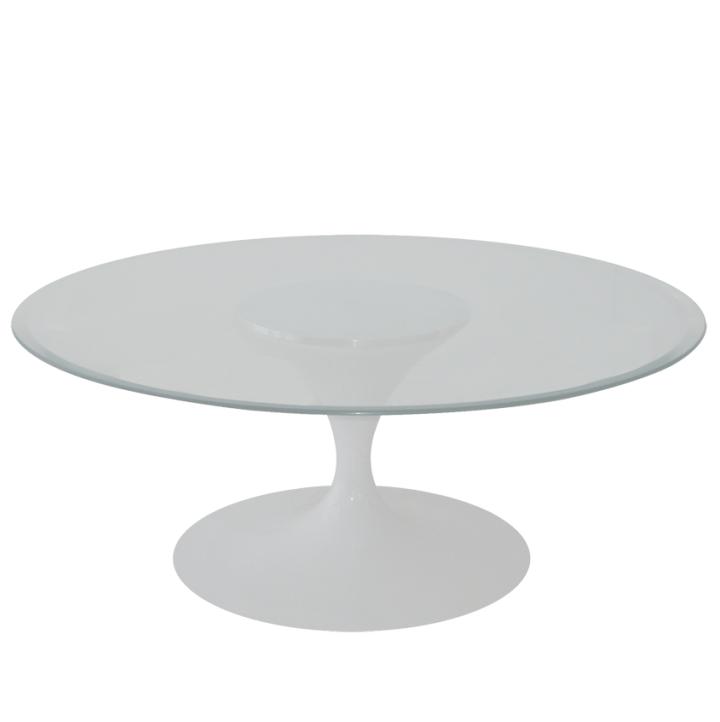 Mesa de Centro Saarinen Redonda 107 cm Madeira Base Branca