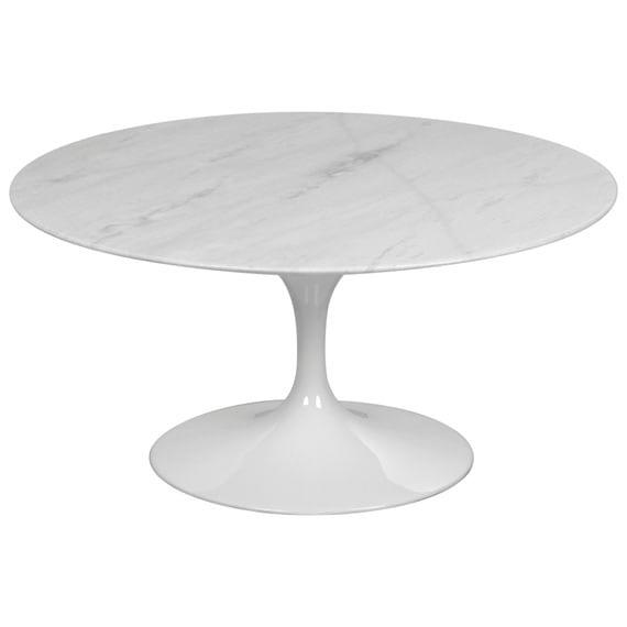 Mesa de Centro Saarinen Redonda 80 cm Mármore Branco Extra