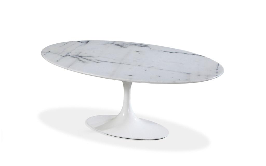 Mesa de Centro Saarinen Oval 160x90 cm Mármore Branco Extra