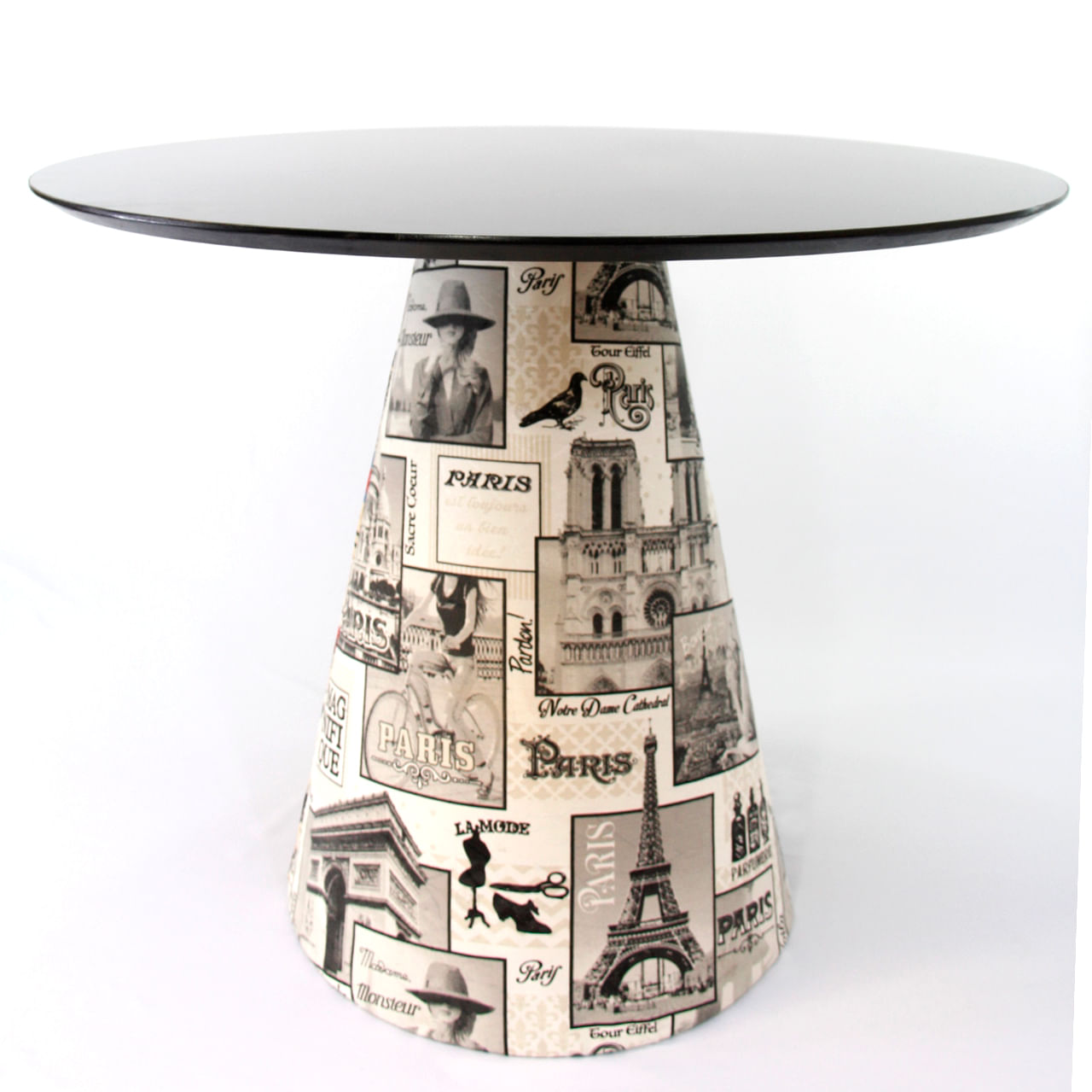 Mesa de Jantar Cone 120 cm Revestida Tecido Paris