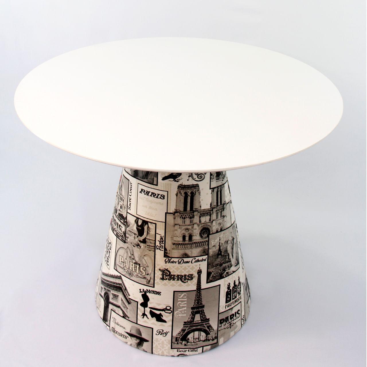 Mesa de Jantar Cone 130 cm Revestida Tecido Paris
