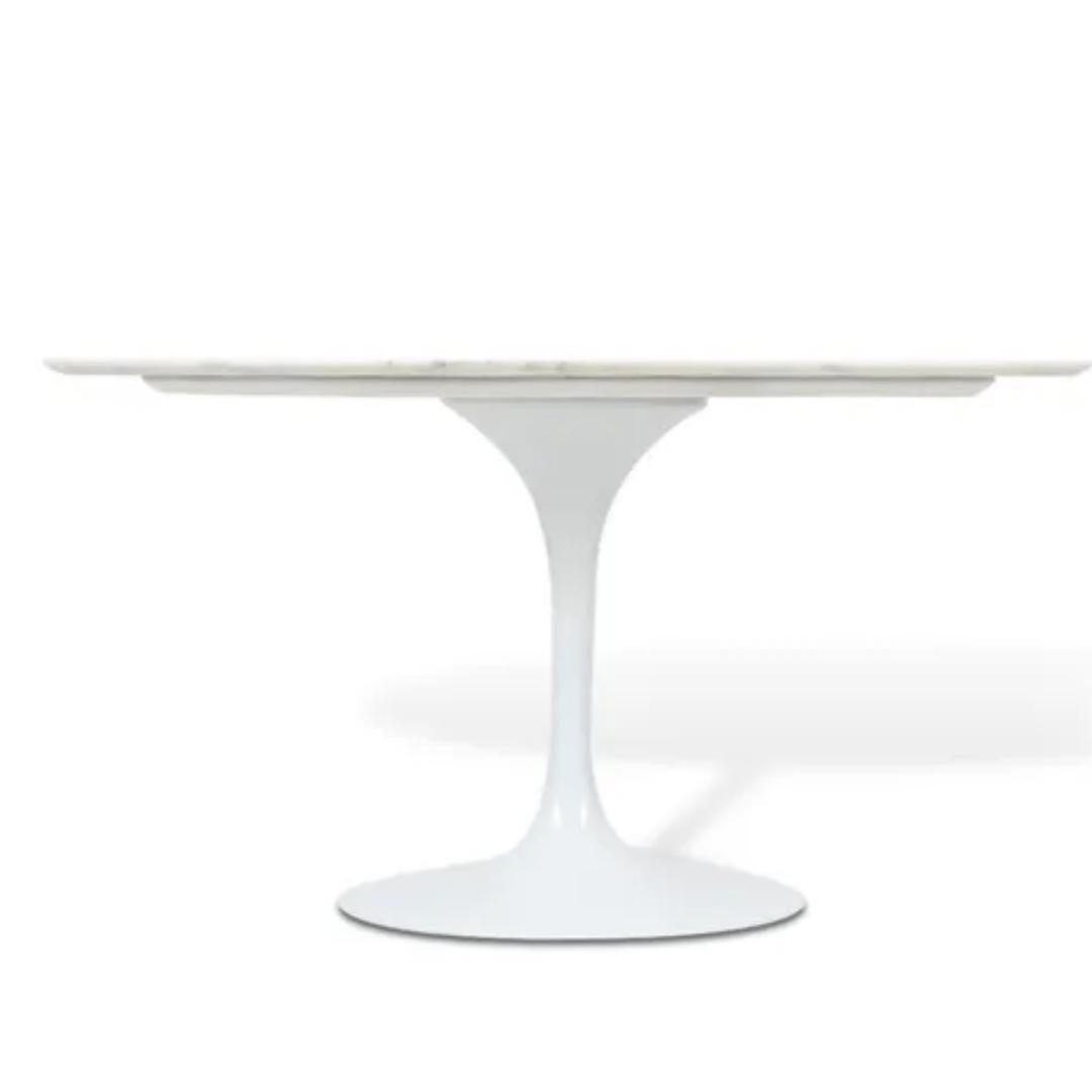 Mesa De Jantar Tulipa  Saarinen Oval 120x80 cm Mármore Branco Extra