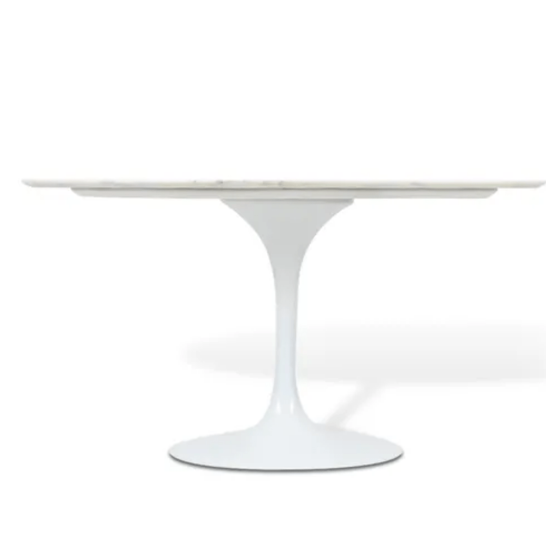 Mesa De Jantar Tulipa Saarinen Oval 160x90 cm Mármore Branco Extra