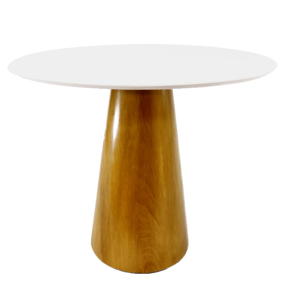 Mesa de Jantar Cone 110 cm Base Madeira Marfim