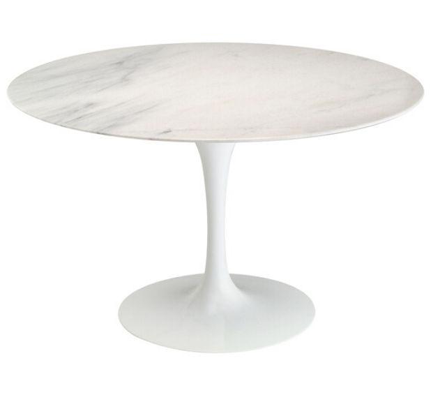 Mesa de Jantar Tulipa Saarinen Redonda 100 cm Mármore Branco Extra