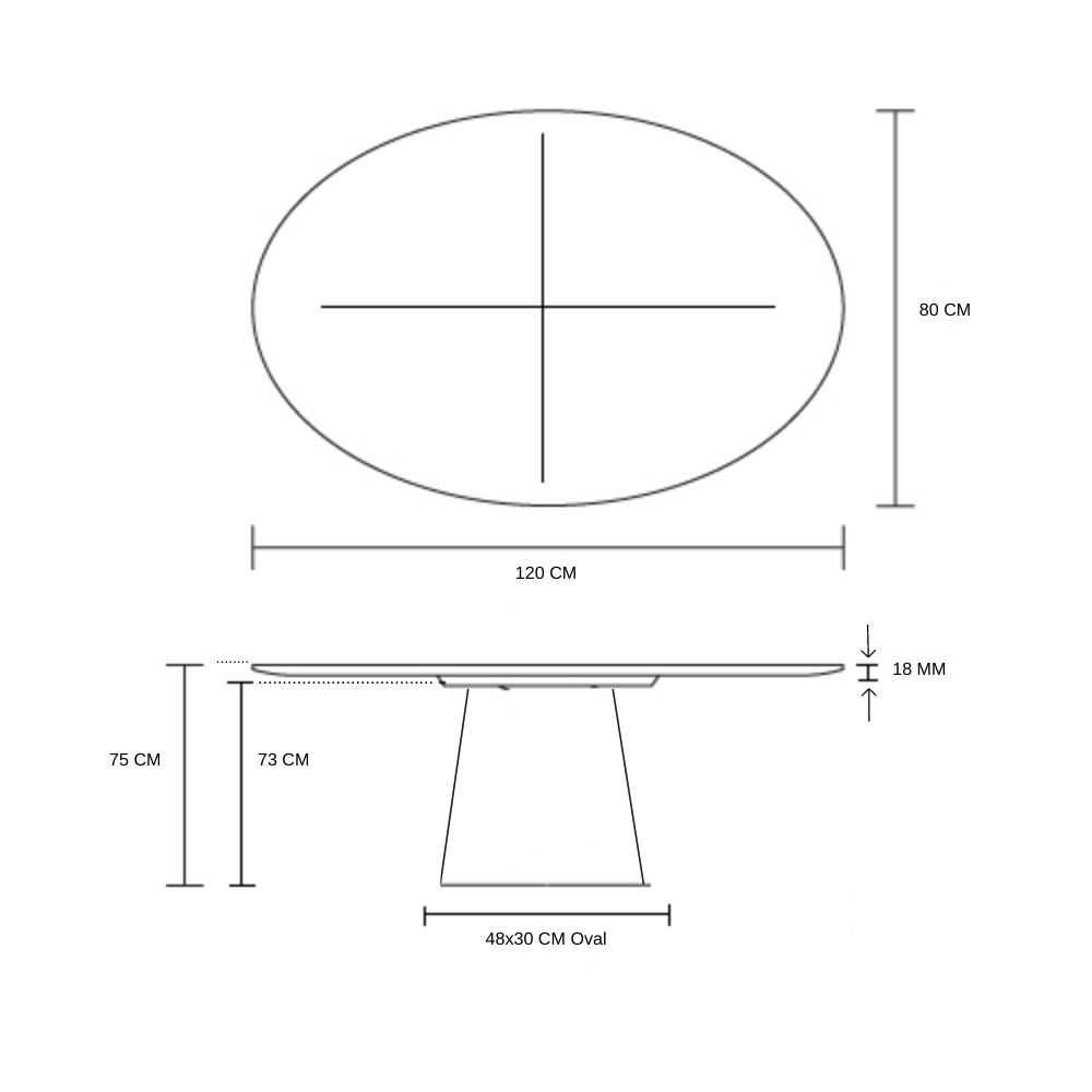 Mesa de Jantar Cone Oval 120x80 cm