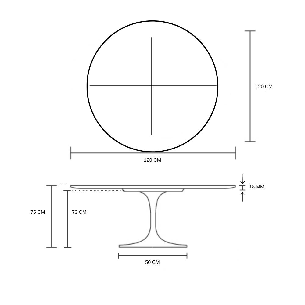 Mesa De Jantar Tulipa Saarinen Redonda 120 cm + Vidro 6 mm Temperado Serigrafado