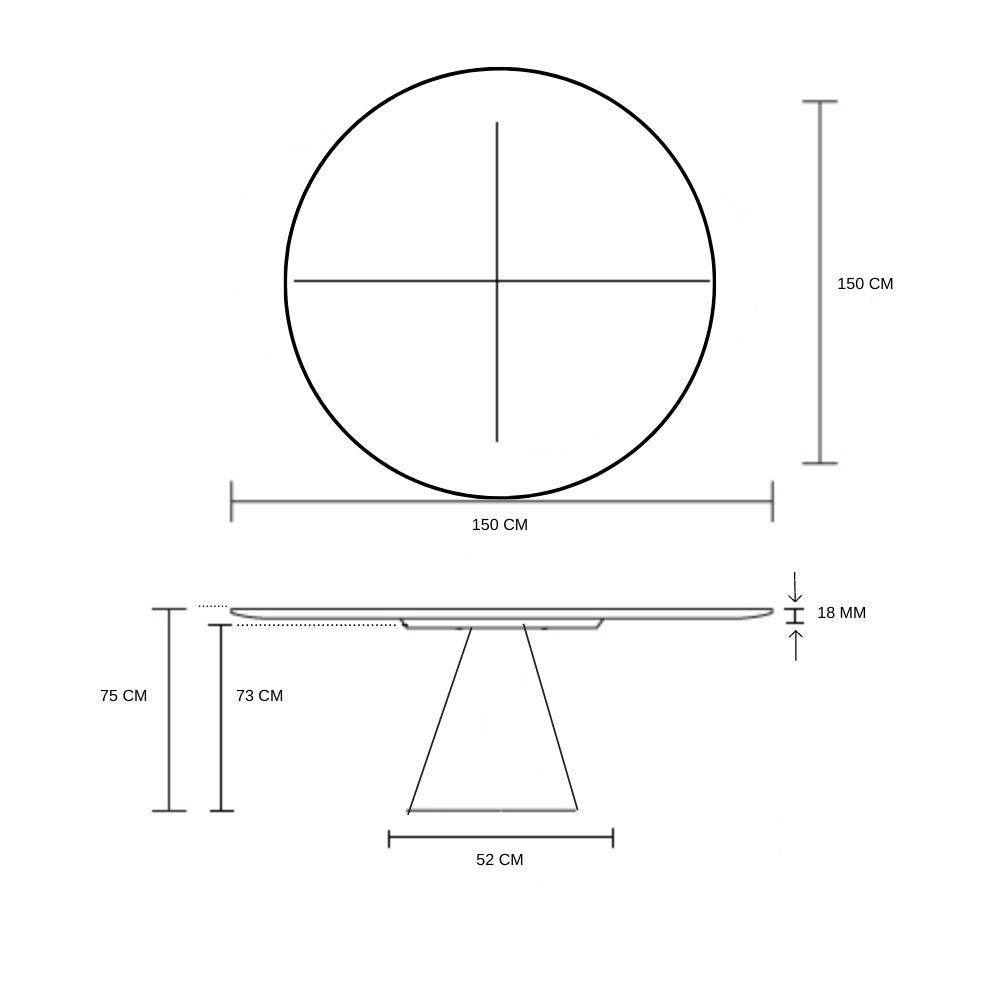 Mesa de Jantar Cone 150 cm Base Madeira Mogo Escuro + Vidro 6 mm