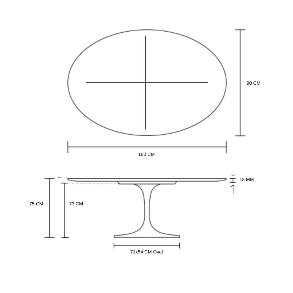 Mesa de Jantar Tulipa Saarinen Oval 160x90 cm Madeira Base Preta